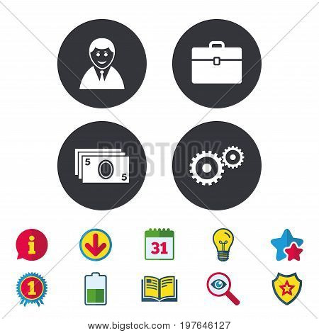 Businessman icons. Human silhouette and cash money signs. Case and gear symbols. Calendar, Information and Download signs. Stars, Award and Book icons. Light bulb, Shield and Search. Vector