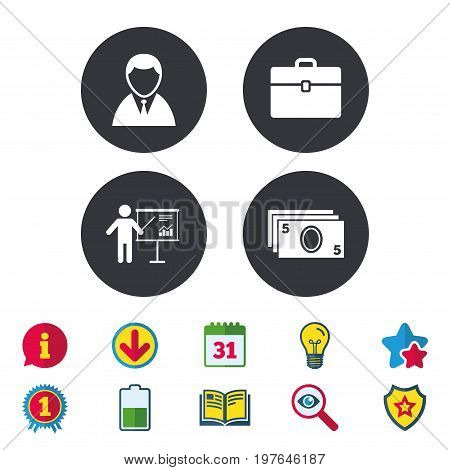 Businessman icons. Human silhouette and cash money signs. Case and presentation with chart symbols. Calendar, Information and Download signs. Stars, Award and Book icons. Light bulb, Shield and Search