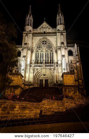 St. Paul's Cathedral at night Dunedin New Zealand