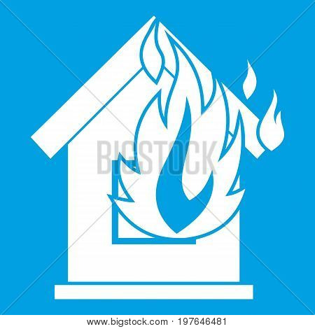 Preventing fire icon white isolated on blue background vector illustration