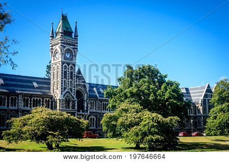 University of Otago - tower and garden Dunedin New Zealand