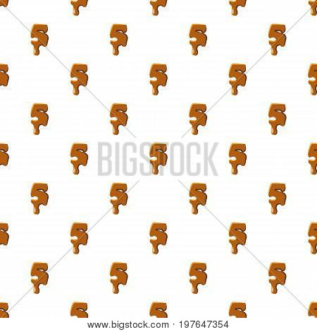 Number 5 from caramel pattern seamless repeat in cartoon style vector illustration