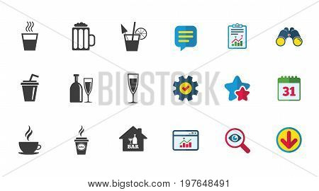 Cocktail, beer icons. Coffee and tea drinks. Soft and alcohol drinks symbols. Calendar, Report and Download signs. Stars, Service and Search icons. Statistics, Binoculars and Chat. Vector