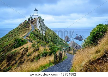 Famous lighthouse of Nugget point New Zealand