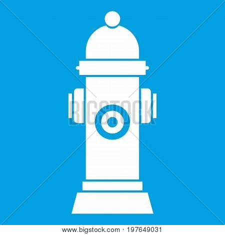 Hydrant icon white isolated on blue background vector illustration