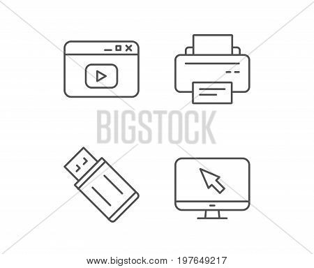 Printer, USB flash drive and Monitor line icons. Browser window sign. Computer devices. Quality design elements. Editable stroke. Vector