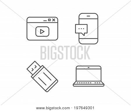 Notebook, USB flash drive and Browser window line icons. Smartphone communication sign. Computer devices. Quality design elements. Editable stroke. Vector