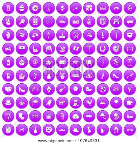 100 Europe icons set in purple circle isolated on white vector illustration