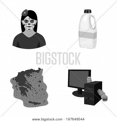 protection, virus, information and other  icon in cartoon style., continent, monitor, computer, icons in set collection.