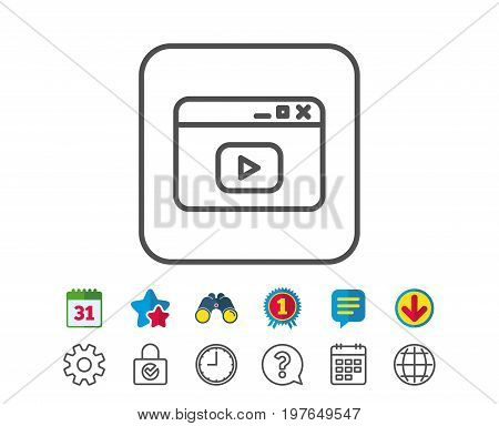 Browser Window line icon. Video content sign. Internet page symbol. Calendar, Globe and Chat line signs. Binoculars, Award and Download icons. Editable stroke. Vector