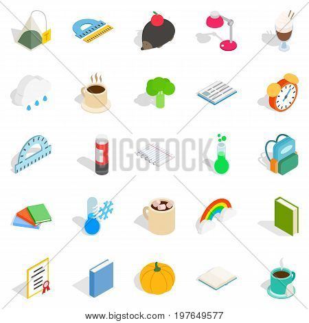 Autumn party icons set. Isometric set of 25 autumn party vector icons for web isolated on white background