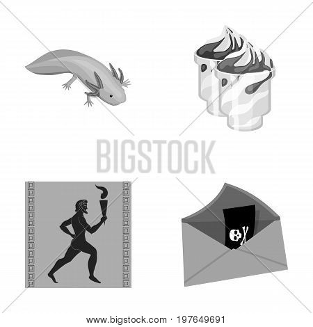 history, tourism, nature and other  icon in cartoon style., black, threat, problem, icons in set collection.