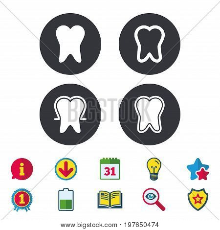 Tooth enamel protection icons. Dental care signs. Healthy teeth symbols. Calendar, Information and Download signs. Stars, Award and Book icons. Light bulb, Shield and Search. Vector