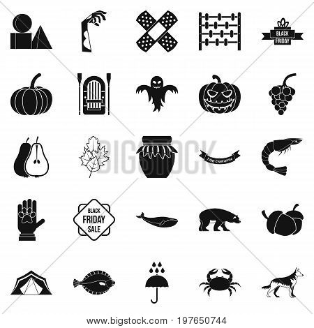 Leaf fall icons set. Simple set of 25 leaf fall vector icons for web isolated on white background