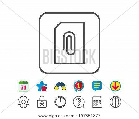 Attach Document line icon. Information File sign. Paper page concept symbol. Upload data. Calendar, Globe and Chat line signs. Binoculars, Award and Download icons. Editable stroke. Vector