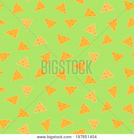 Mexican fastfood seamless pattern with nachos on green guacamole background. Nice spanish fastfood texture for textile wallpaper background cover banner bar and cafe menu design
