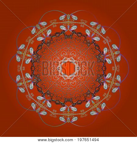 Abstract mandala or whimsical snowflake line art design. Cute snowflakes on colorful background. Vector illustration.