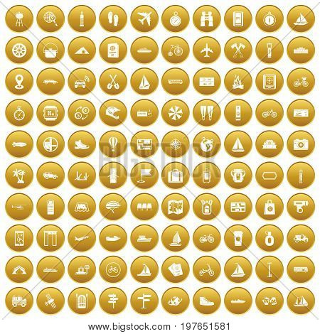 100 voyage icons set in gold circle isolated on white vectr illustration