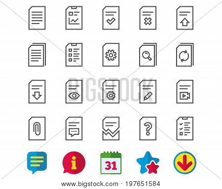 Document Management line icons. Set of Report, Checklist and Copy signs. Download file, Remove and Attach clip symbols. Search, Edit and Corrupt file. Information, Calendar and Download signs. Vector