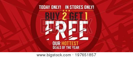 Buy 2 Get 1 Free Banner Vector Illustration. EPS 10