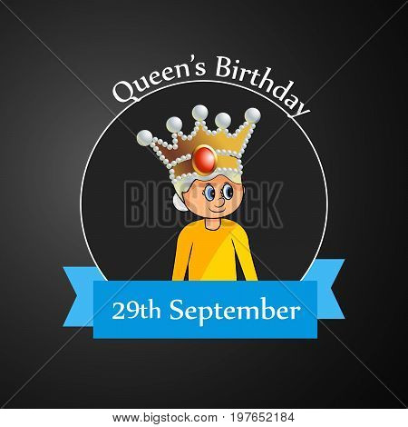 illustration of a girl in crown with Queen's Birthday 29th September text on the occasion of Queen's Birthday