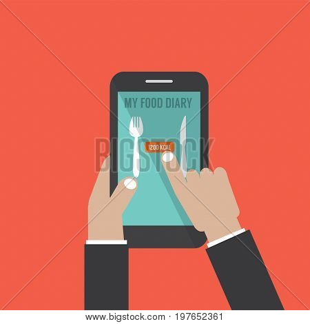 Smartphone With Food Application Basal Metabolic Rate (BMR) in Hands Vector Illustration. EPS 10