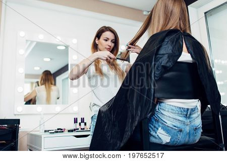 Young female hairdresser holding a strand combing girl s long fair hair in beauty shop.