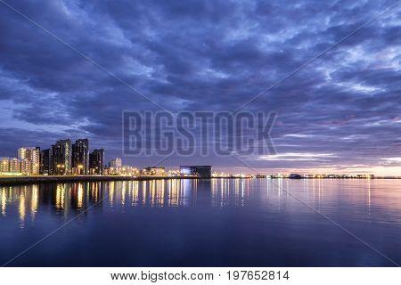 Beautiful twilight with Reykjavik skyline in Iceland