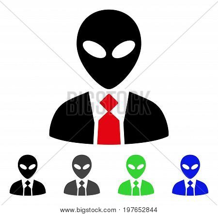 Alien Boss flat vector pictogram. Colored alien boss gray, black, blue, green icon versions. Flat icon style for web design.