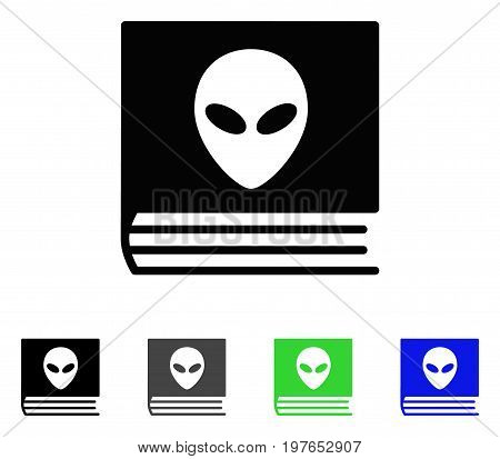 Alien Catalog flat vector illustration. Colored alien catalog gray, black, blue, green icon versions. Flat icon style for web design.