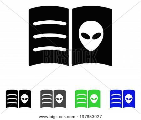 Alien Face Book flat vector icon. Colored alien face book gray, black, blue, green icon versions. Flat icon style for application design.