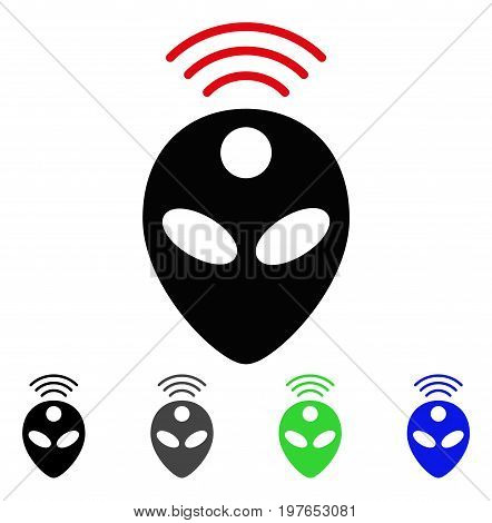 Alien Head flat vector pictograph. Colored alien head gray, black, blue, green icon variants. Flat icon style for graphic design.