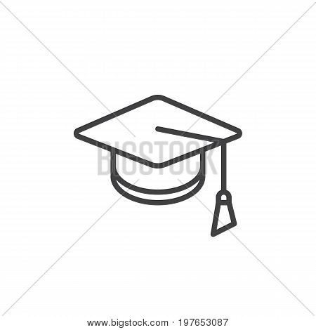 Square academic cap line icon, outline vector sign, linear style pictogram isolated on white. Mortarboard, Graduation symbol, logo illustration. Editable stroke. Pixel perfect vector graphics