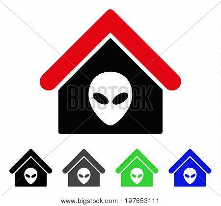 Alien Home flat vector illustration. Colored alien home gray, black, blue, green pictogram variants. Flat icon style for application design.