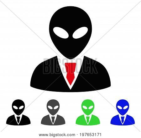Alien Manager flat vector icon. Colored alien manager gray, black, blue, green icon variants. Flat icon style for graphic design.