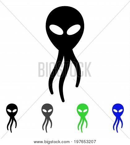 Alien Microbe flat vector icon. Colored alien microbe gray, black, blue, green icon variants. Flat icon style for graphic design.