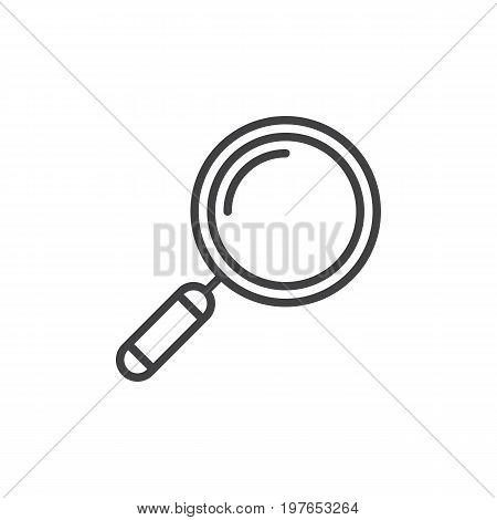 Loupe, search line icon, outline vector sign, linear style pictogram isolated on white. Symbol, logo illustration. Editable stroke. Pixel perfect vector graphics