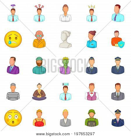 Population icons set. Cartoon set of 25 population vector icons for web isolated on white background