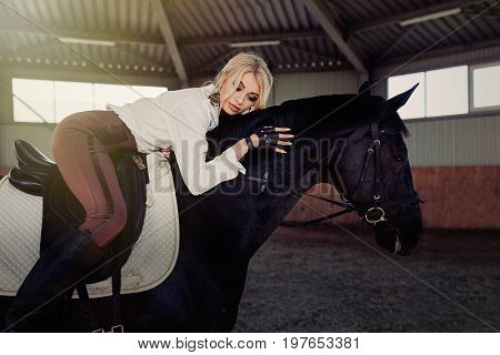 Beautiful Elegant Young Blonde Girl Lies On A Her Black Horse Dressing Uniform Competition White Blo