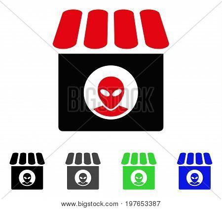 Alien Shop flat vector pictogram. Colored alien shop gray, black, blue, green pictogram variants. Flat icon style for graphic design.