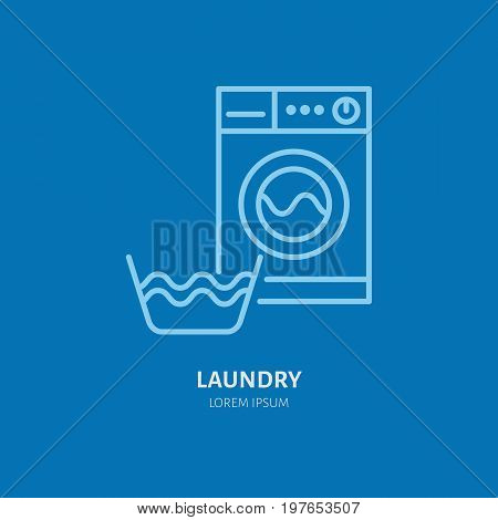 Washing machine icon, washer line logo. Flat sign for launderette service. Logotype for self-service laundry, clothing cleaning business.