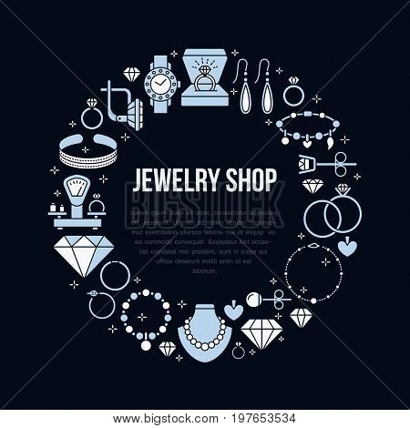 Jewelry shop, diamond accessories banner illustration. Vector flat line icon of jewels - gold engagement rings, gem earrings, silver necklaces, brilliant. Fashion store circle template place for text.