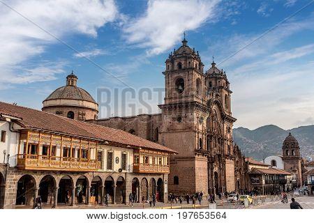 Cusco, Peru- March 17, 2017:La Compania de Jesus ( Company of Jesus ) Church in Cusco Peru