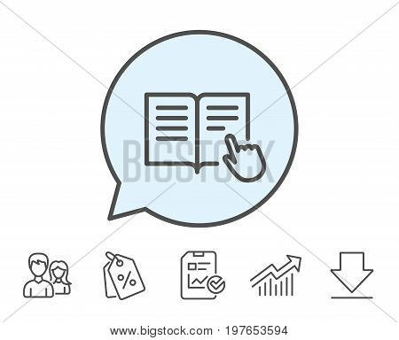 Instruction Book line icon. Education with hand pointer symbol. E-learning sign. Report, Sale Coupons and Chart line signs. Download, Group icons. Editable stroke. Vector