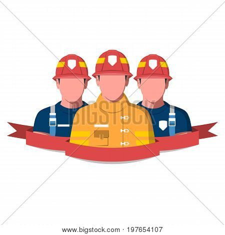 Flat vector illustration of a fire brigade. Firemen characters isolated on white background.