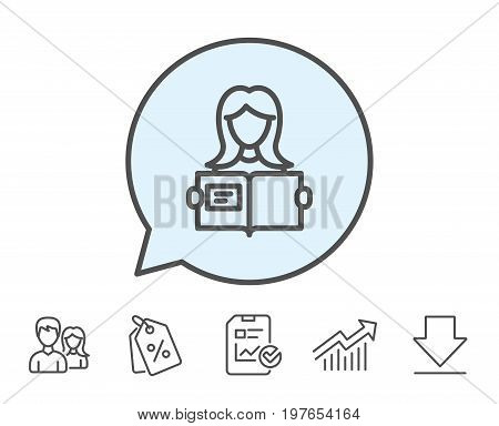 Woman read a Book line icon. Education symbol. Instruction or E-learning sign. Report, Sale Coupons and Chart line signs. Download, Group icons. Editable stroke. Vector