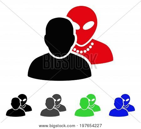 Human Alien Contacts flat vector pictograph. Colored human alien contacts gray, black, blue, green icon versions. Flat icon style for application design.