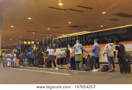 TOKYO JAPAN - JULY 10, 2017: Unidentified people travel at Narita airport bus station.
