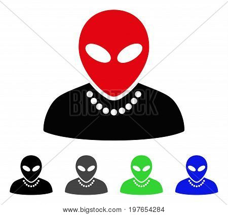 Humanoid flat vector pictograph. Colored humanoid gray, black, blue, green pictogram versions. Flat icon style for web design.