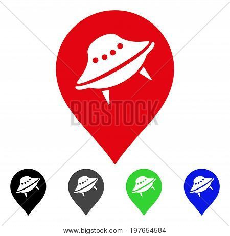 UFO Place Marker flat vector pictogram. Colored ufo place marker gray, black, blue, green icon variants. Flat icon style for application design.